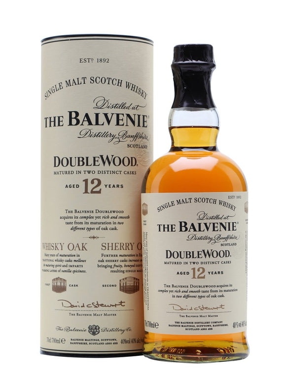 Distillery: The Balvenie Name: 12 Years Double Wood Volume: 70CL ABV: 40% Notes: Single Malt Origin: Dufftown, Speyside, Scotland