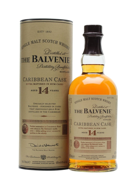 Distillery: The Balvenie Name: 14 Years Caribbean Cask Volume: 70CL ABV: 43% Notes: Single Malt Origin: Dufftown, Speyside, Scotland