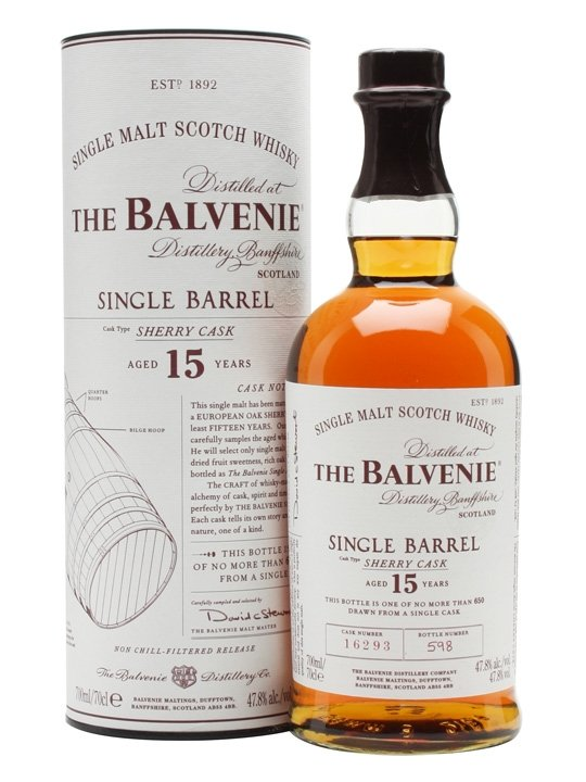 Distillery: The Balvenie Name: 15 Years Sherry Cask - Cask 11169 Volume: 70CL ABV: 47.8% Notes: Single Malt Origin: Dufftown, Speyside, Scotland