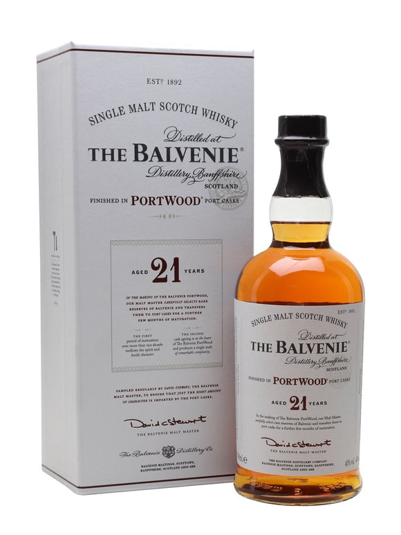 Distillery: The Balvenie Name: 21 Years Portwood Volume: 70CL ABV: 40% Notes: Single Malt Origin: Dufftown, Speyside, Scotland