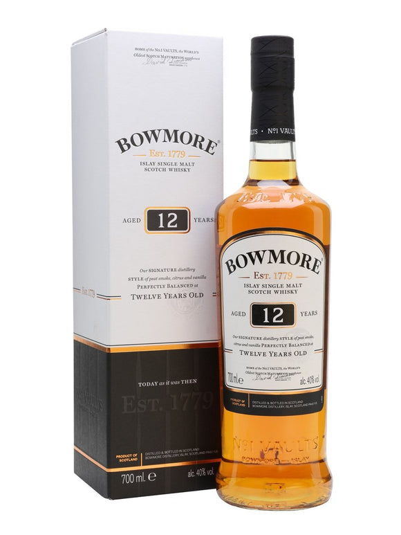Distillery: Bowmore Name: 12 Years Volume: 70CL ABV: 40% Notes: Single Malt Origin: Bowmore, Islay, Scotland