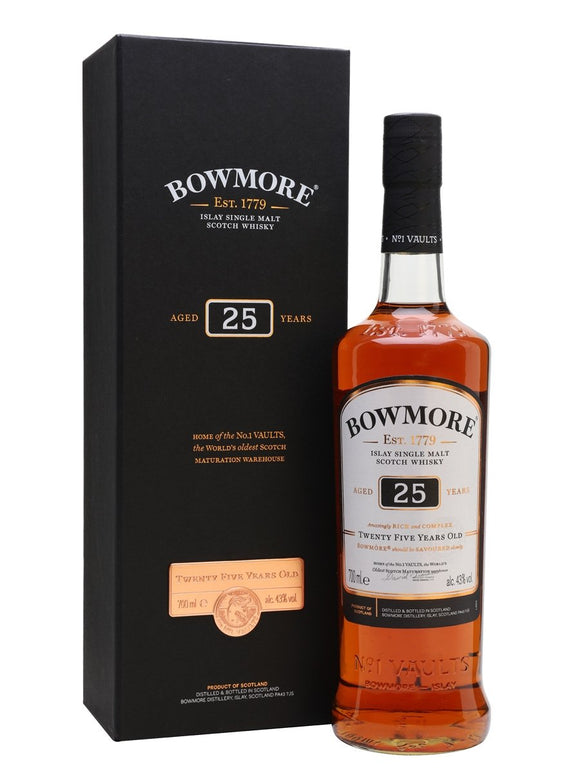 Distillery: Bowmore Name: 25 Years Volume: 70CL ABV: 43% Notes: For Sale In Singapore Only Origin: Bowmore, Islay, Scotland
