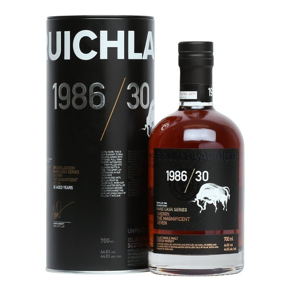 Distillery: Bruichladdich Name: Rare Cask : Magnificent 7 1986/30 Years Volume: 70CL ABV: 46.2% Notes: Single Malt Origin: Rhinns of Islay, Islay, Scotland