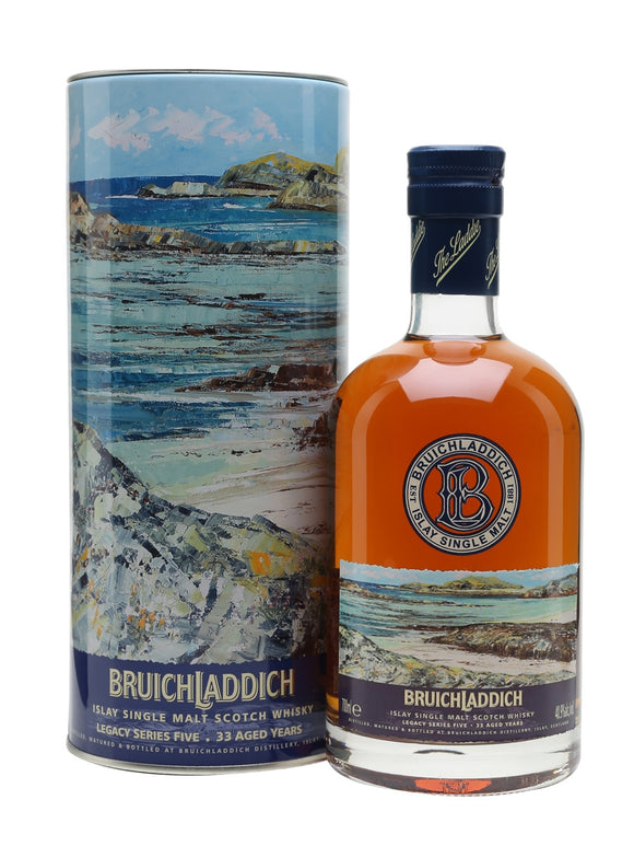 Distillery: Bruichladdich Name: Legacy 5: 33 Years Volume: 70CL ABV: 40.9% Notes: Single Malt Origin: Rhinns of Islay, Islay, Scotland