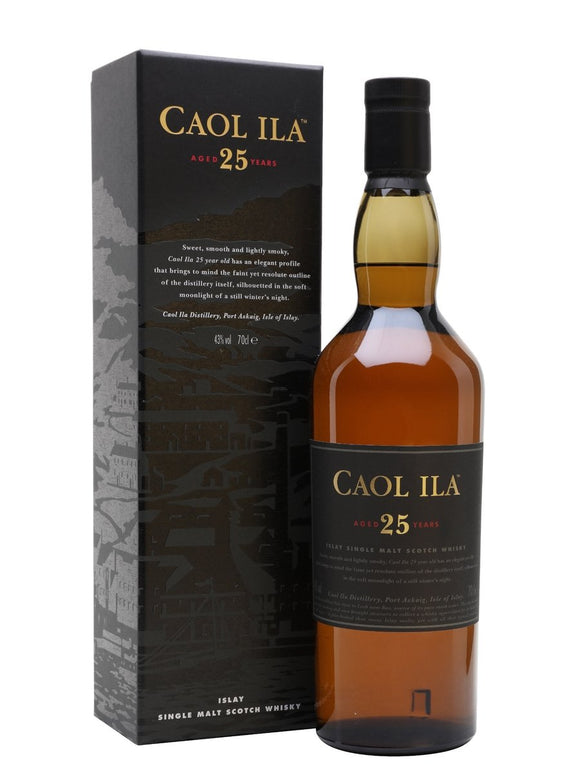 Distillery: Caol Ila Name: 25 Years Volume: 70CL ABV: 43% Notes: Single Malt Origin: Port Askaig, Islay, Scotland