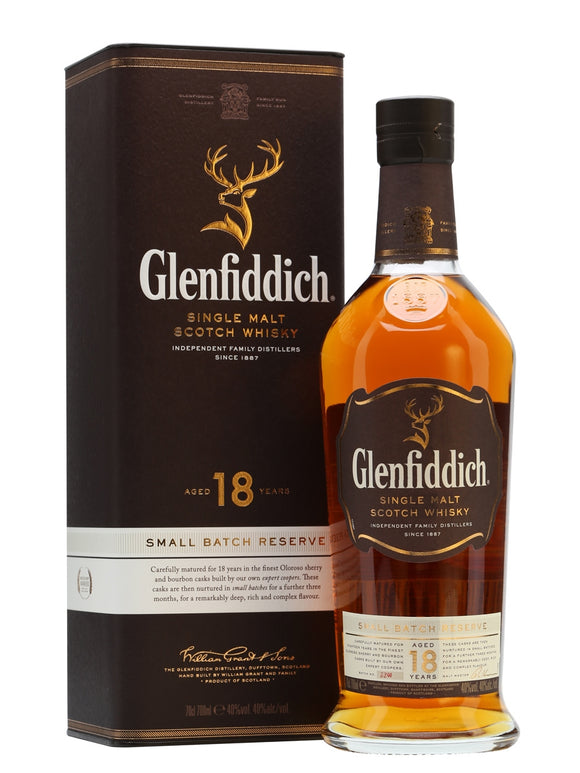 Distillery: Glenfiddich Name: 18 Year Small Batch Reserve Volume: 70CL ABV: 40% Notes: Single Malt Origin: Dufftown, Speyside, Scotland