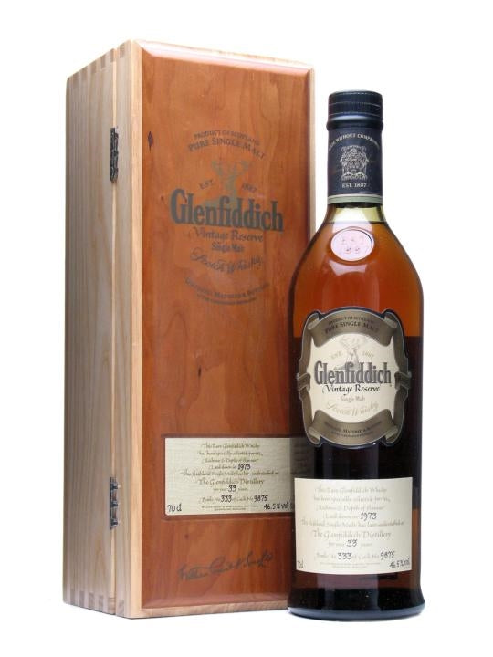 Distillery: Glenfiddich Name: 1973 Rare Collection 33 Years (Bn:63) Volume: 70CL ABV: 46.5% Notes: Special Editions : Scotland Origin: Dufftown, Speyside, Scotland