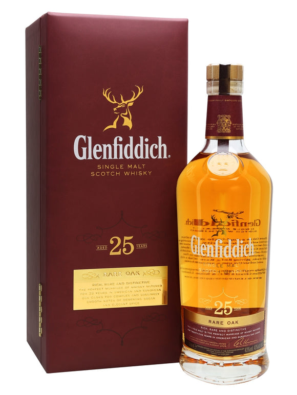 Distillery: Glenfiddich Name: 25 Years Volume: 70CL ABV: 43% Notes: Single Malt Origin: Dufftown, Speyside, Scotland