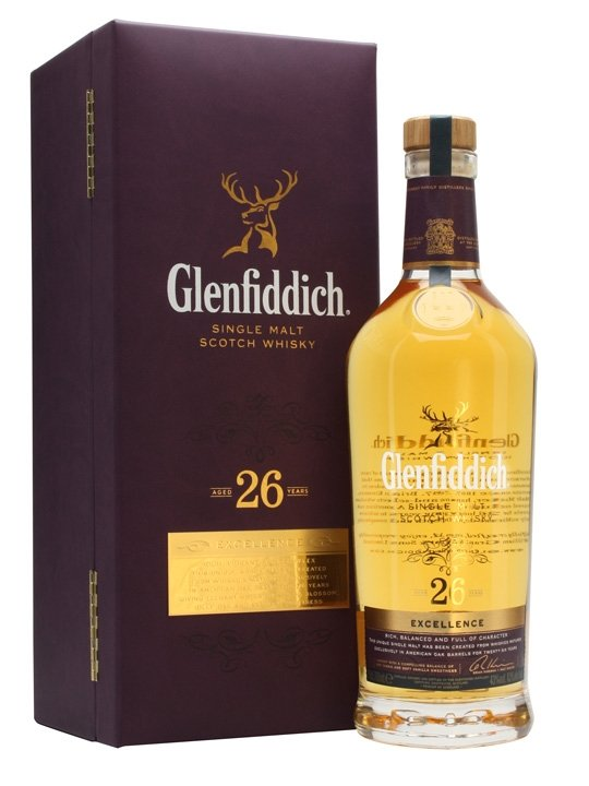 Distillery: Glenfiddich Name: 26 Years Volume: 70CL ABV: 43% Notes: Single Malt Origin: Dufftown, Speyside, Scotland