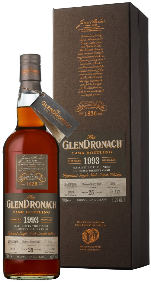 Distillery: Glendronach Name: 25 Years 1993 Single Cask No. 416 Volume: 70CL ABV: 51.2% Notes: Single Malt Origin: Aberdeenshire, Highland, Scotland