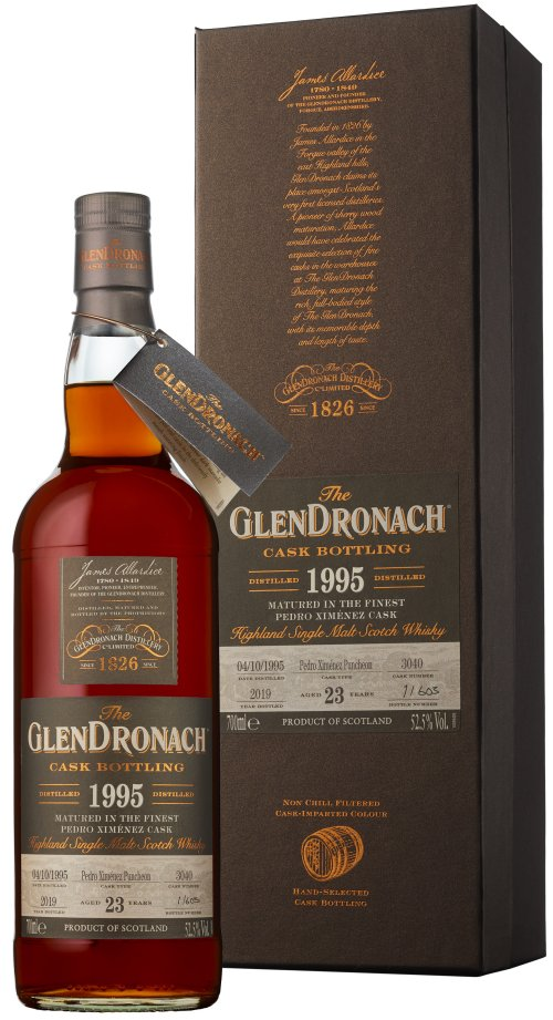 Distillery: Glendronach Name: 23 Years 1995 Single Cask No. 3040 Volume: 70CL ABV: 52.5% Notes: Single Malt Origin: Aberdeenshire, Highland, Scotland