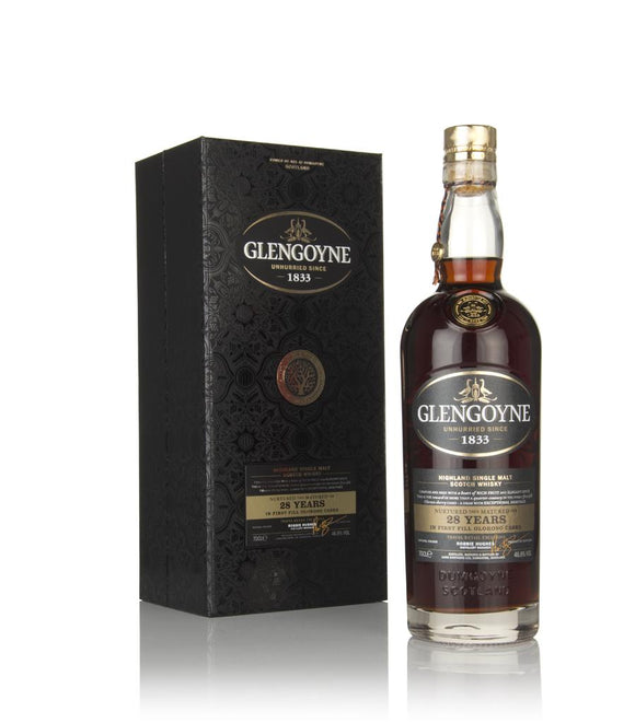 Distillery: Glengoyne Name: 28 Years Volume: 70CL ABV: 46.8% Notes: Single Malt Origin: Dumgoyne, Highland, Scotland
