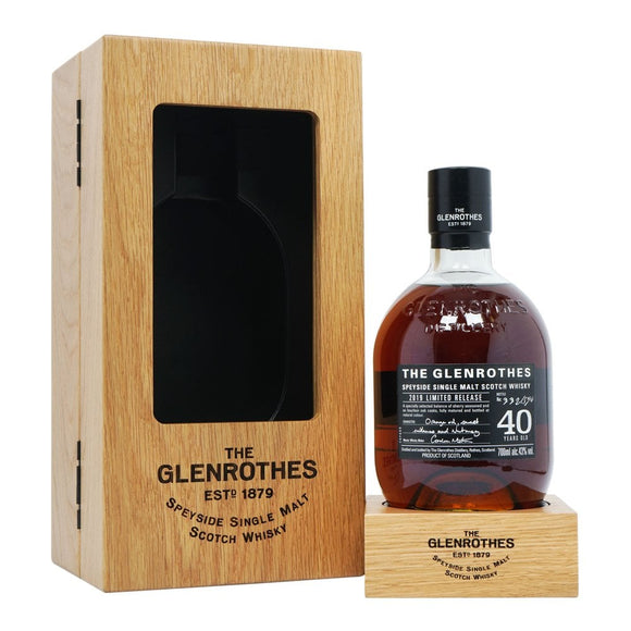 Distillery: The Glenrothes Name: 40 Years Volume: 70CL ABV: 43% Notes: Special Editions : Scotland Origin: Rothes, Speyside, Scotland