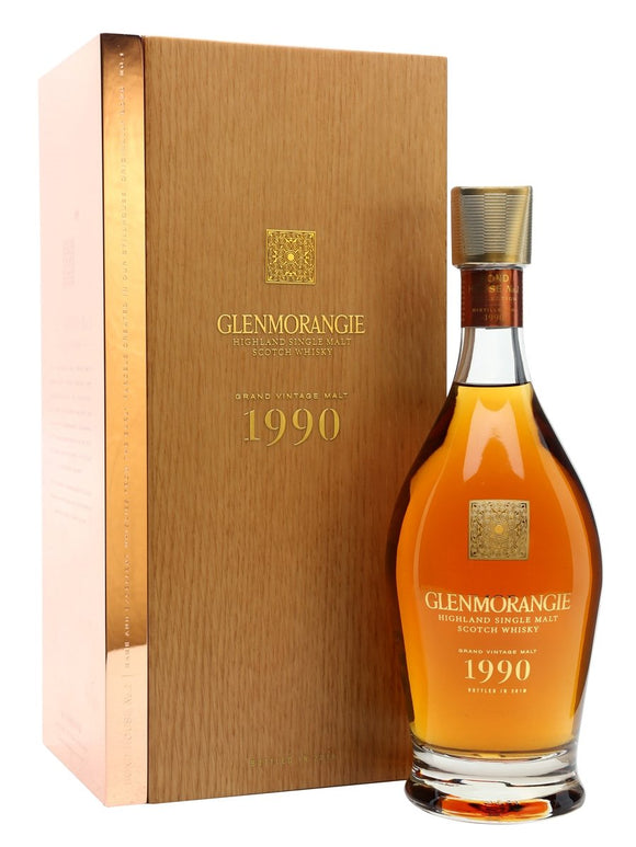 Distillery: Glenmorangie Name: 1990 Grand Vintage Volume: 70CL ABV: 43% Notes: Single Malt Origin: Tain, Highland, Scotland
