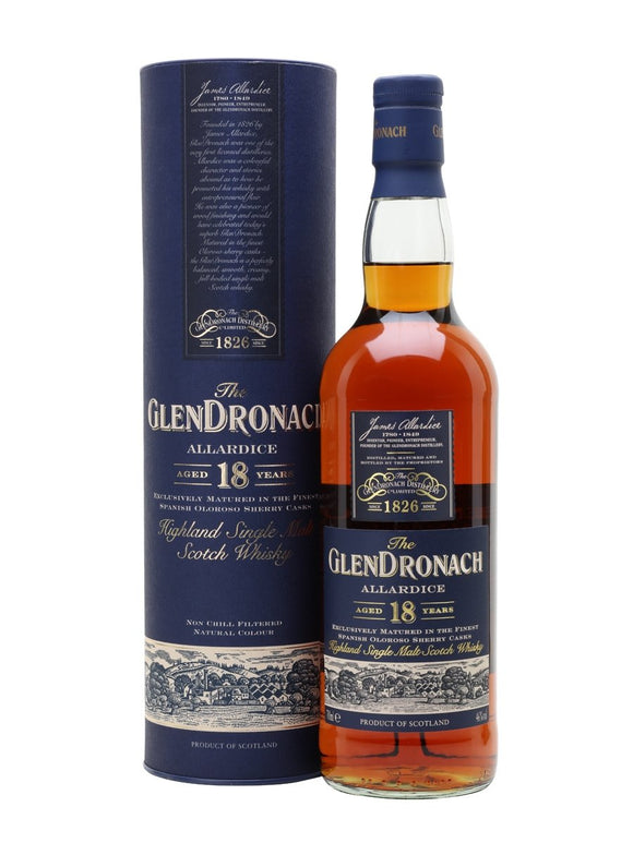 Distillery: Glendronach Name: 18 Years - Allardice Volume: 70CL ABV: 46% Notes: Single Malt Origin: Aberdeenshire, Highland, Scotland