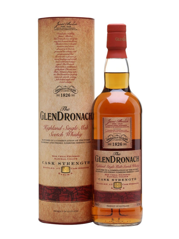 Distillery: Glendronach Name: Cask Strength Batch 6 Volume: 70CL ABV: 56.1% Notes: Single Malt Origin: Aberdeenshire, Highland, Scotland