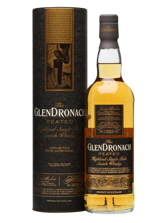 Distillery: Glendronach Name: Peated Volume: 70CL ABV: 46% Notes: Single Malt Origin: Aberdeenshire, Highland, Scotland