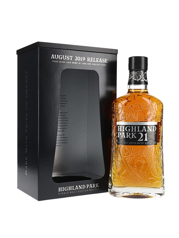 Distillery: Highland Park Name: 21 Years (2019 Release) Volume: 70CL ABV: 46% Notes: Single Malt Origin: Kirkwall, Island, Scotland