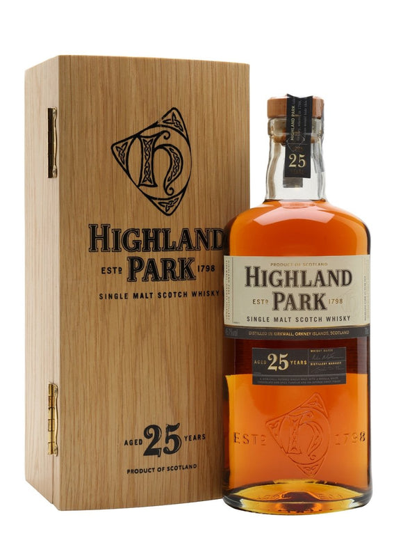 Distillery: Highland Park Name: 25 Years Volume: 70CL ABV: 45.7% Notes: Single Malt Origin: Kirkwall, Island, Scotland