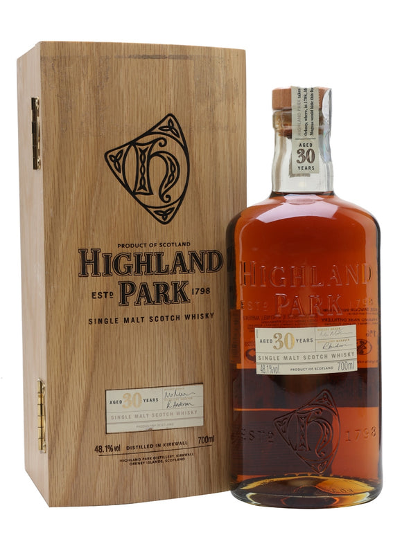 Distillery: Highland Park Name: 30 Years Volume: 70CL ABV: 48.1% Notes: Single Malt Origin: Kirkwall, Island, Scotland