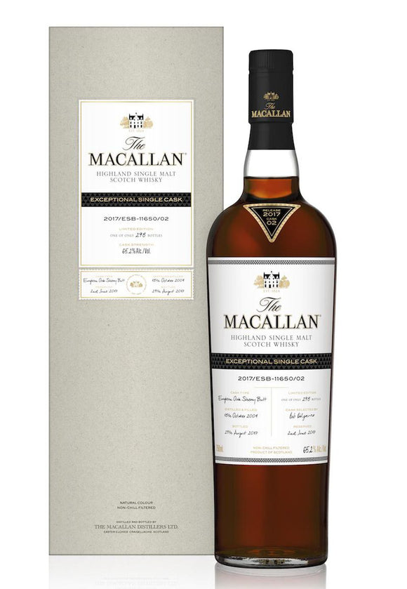 Distillery: The Macallan Name: 2017/Esb-11650/02 (2004/13 Years Old) Volume: 70CL ABV: 65.2% Edition: Single Cask Notes: The Macallan Expectional Single Cask Origin: Craigellachie, Speyside, Scotland