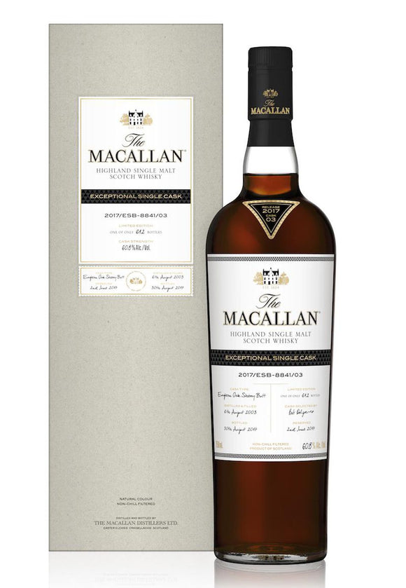 Distillery: The Macallan Name: 2017/Esb-8841/03 (2003/14 Years Old) Volume: 70CL ABV: 60.8% Edition: Single Cask Notes: The Macallan Expectional Single Cask Origin: Craigellachie, Speyside, Scotland