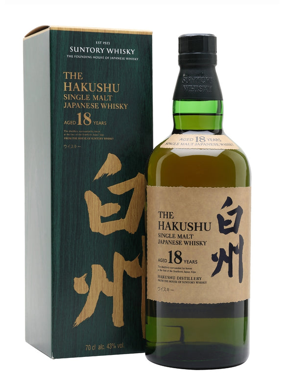 Distillery: Hakushu Name: 18 Years Volume: 70CL ABV: 43% Notes: Single Malt Origin: Japan