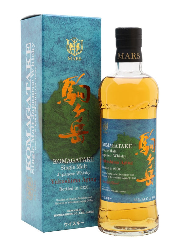 Distillery: Mars Name: Komagatake Yakushima Aging 2020 Volume: 70CL ABV: 53% Notes: Single Malt Origin: Japan