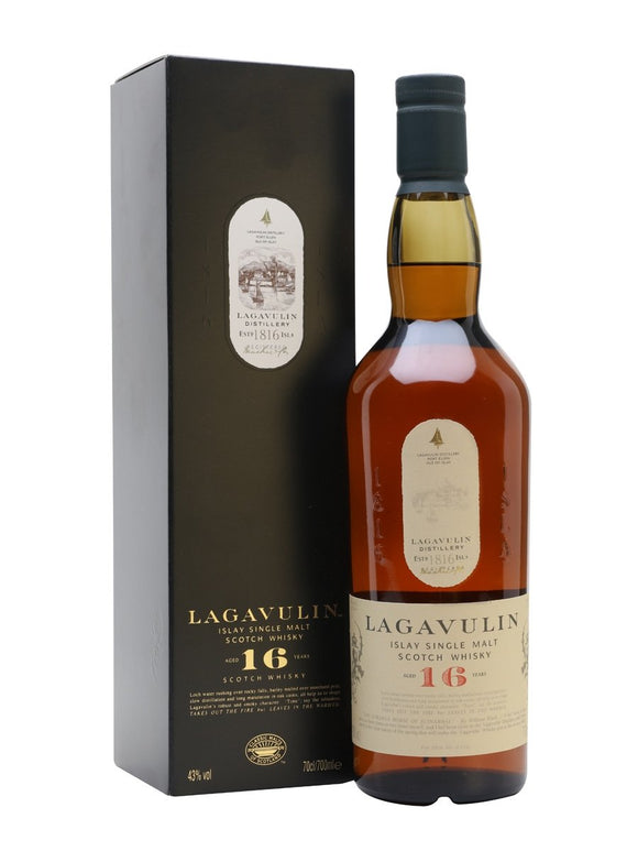 Distillery: Lagavulin Name: 16 Years Volume: 70CL ABV: 43% Notes: Single Malt Origin: Port Ellen, Islay, Scotland