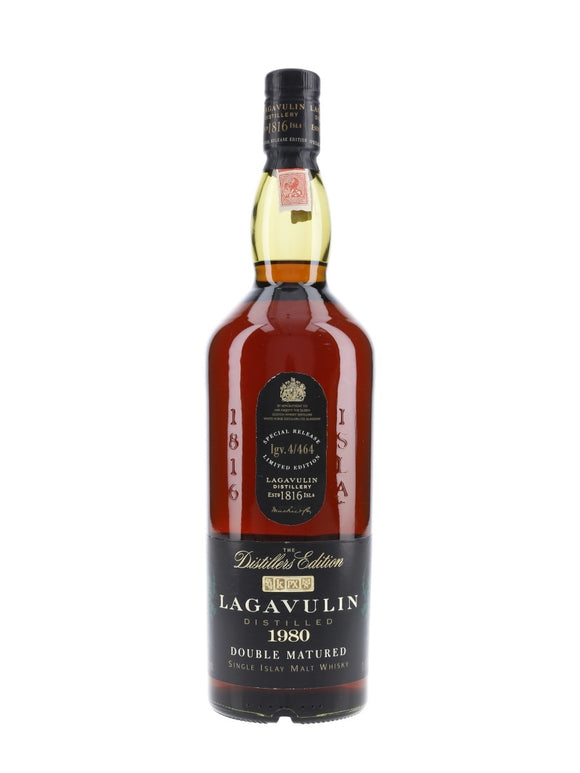 Distillery: Lagavulin Name: 1980 Distiller's Limited Ed. Px Cask Lgv.4/464 Volume: 70CL ABV: 43% Notes: Special Editions : Scotland Origin: Port Ellen, Islay, Scotland