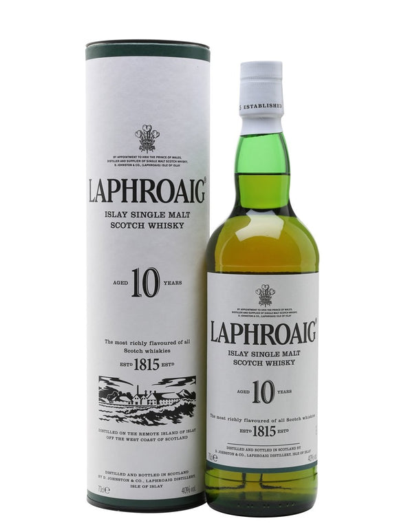 Distillery: Laphroaig Name: 10 Years Volume: 70CL ABV: 40% Notes: Single Malt Origin: Port Ellen, Islay, Scotland