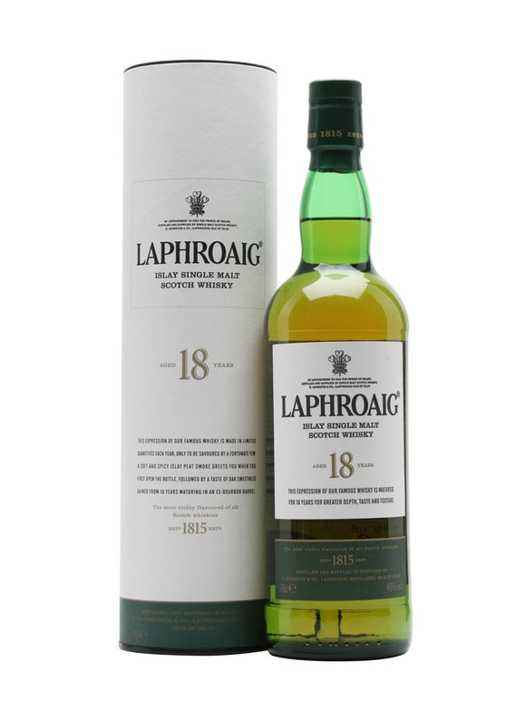 Distillery: Laphroaig Name: 18 Years Volume: 70CL ABV: 48% Notes: Single Malt Origin: Port Ellen, Islay, Scotland