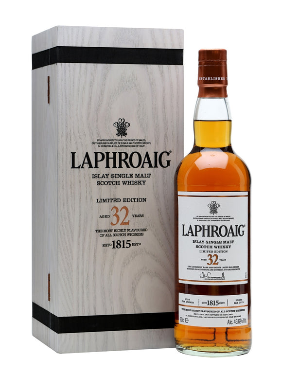 Distillery: Laphroaig Name: 32 Years Volume: 70CL ABV: 46.6% Notes: Special Editions : Scotland Origin: Port Ellen, Islay, Scotland