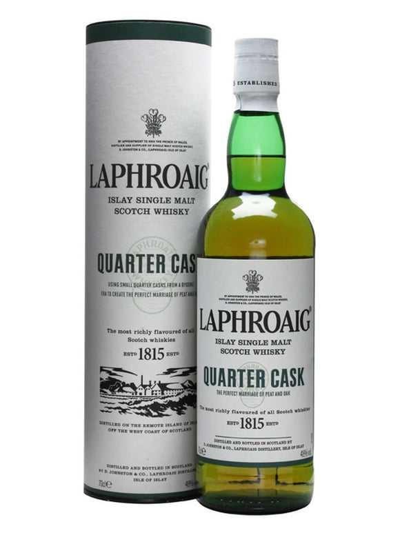 Distillery: Laphroaig Name: Quarter Cask Volume: 70CL ABV: 48% Notes: Single Malt Origin: Port Ellen, Islay, Scotland