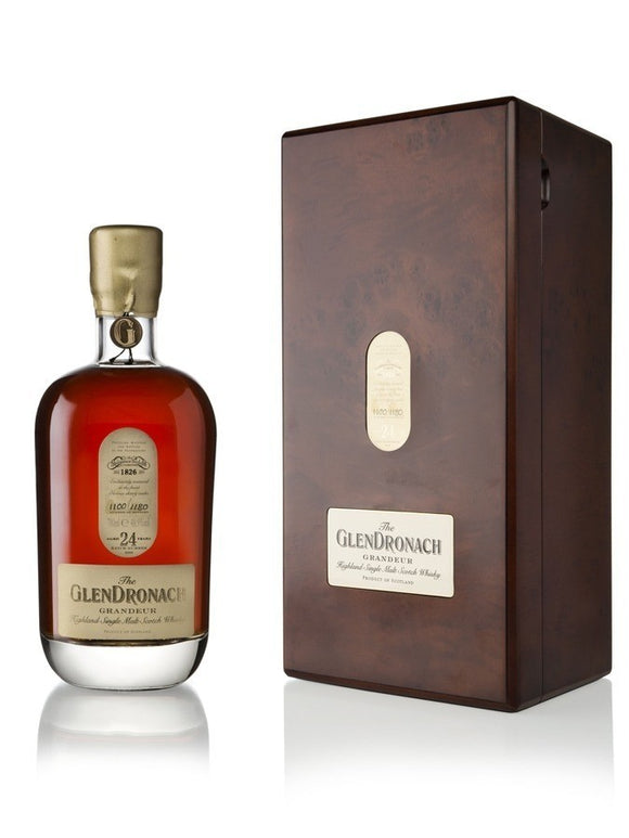Distillery: Glendronach Name: Grandeur Bacth 6 24 Years Volume: 70CL ABV: 48.9% Notes: Single Malt Origin: Aberdeenshire, Highland, Scotland
