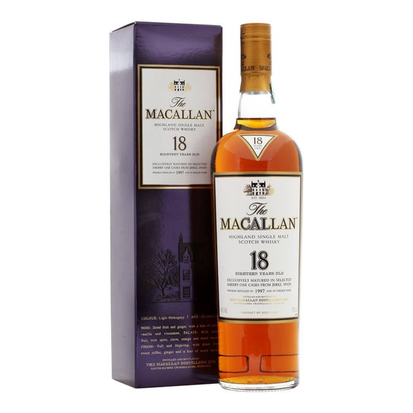 Distillery: The Macallan Name: 18 Years Sherry Oak - 1997 Volume: 70CL ABV: 43% Notes: Single Malt Origin: Craigellachie, Speyside, Scotland