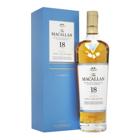 Distillery: The Macallan Name: 18 Years Triple Cask (Stopped Production) Volume: 70CL ABV: 43% Notes: Single Malt Origin: Craigellachie, Speyside, Scotland