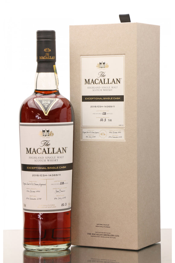 Distillery: The Macallan Name: 2018/Esh-14369/11 (1997/21 Years Old) Volume: 70CL ABV: 52.3% Edition: Single Cask Notes: The Macallan Expectional Single Cask Origin: Craigellachie, Speyside, Scotland