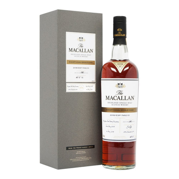 Distillery: The Macallan Name: 2018/Esp-7492/01 (2005/12 Years Old) Volume: 70CL ABV: 65.5% Edition: Single Cask Notes: The Macallan Expectional Single Cask Origin: Craigellachie, Speyside, Scotland
