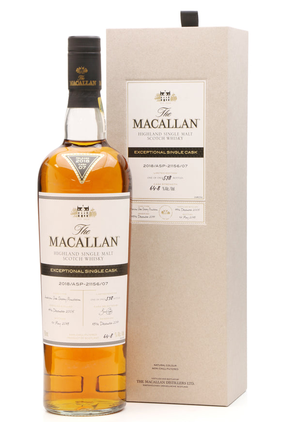 Distillery: The Macallan Name: 2018/Asp-21156/07 (2005/12 Years Old) Volume: 70CL ABV: 64.8% Edition: Single Cask Notes: The Macallan Expectional Single Cask Origin: Craigellachie, Speyside, Scotland