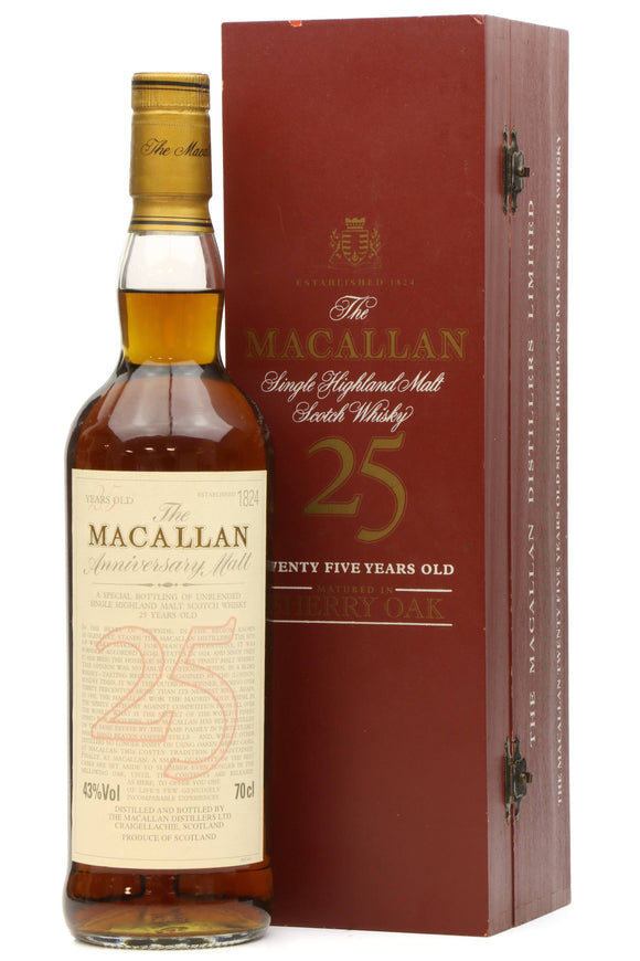 Distillery: The Macallan Name: 25 Years Anniversary Malt Volume: 70CL ABV: 43% Notes: Special Editions : Scotland Origin: Craigellachie, Speyside, Scotland