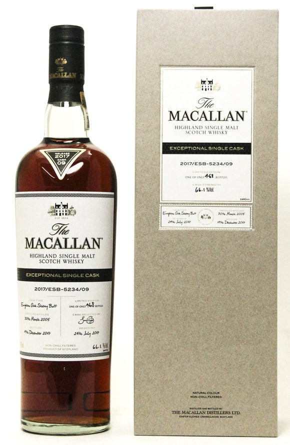 Distillery: The Macallan Name: 2017/Esb-5234/09 (2005/12 Years Old) Volume: 70CL ABV: 66.1% Edition: Single Cask Notes: The Macallan Expectional Single Cask Origin: Craigellachie, Speyside, Scotland