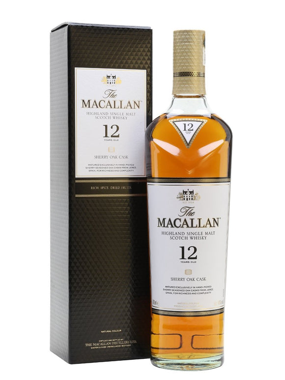 Distillery: The Macallan Name: 12 Years Sherry Oak Volume: 70CL ABV: 40% Notes: Single Malt Origin: Craigellachie, Speyside, Scotland