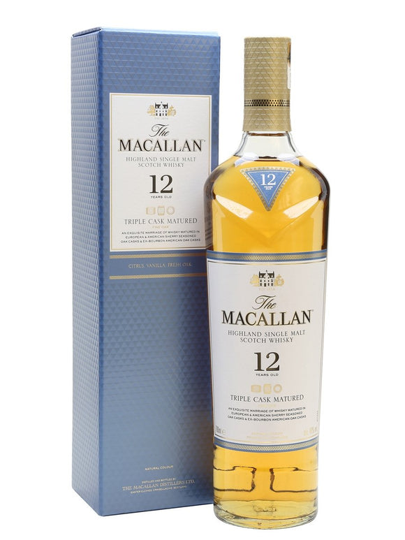Distillery: The Macallan Name: 12 Years Triple Cask Volume: 70CL ABV: 40% Notes: Single Malt Origin: Craigellachie, Speyside, Scotland