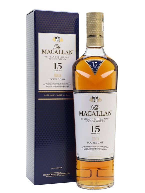 Distillery: The Macallan Name: 15 Years Double Cask Volume: 70CL ABV: 43% Notes: Single Malt Origin: Craigellachie, Speyside, Scotland