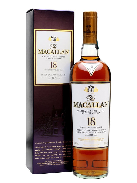 Distillery: The Macallan Name: 18 Years Sherry Oak - 2017 Volume: 70CL ABV: 43% Notes: Single Malt Origin: Craigellachie, Speyside, Scotland