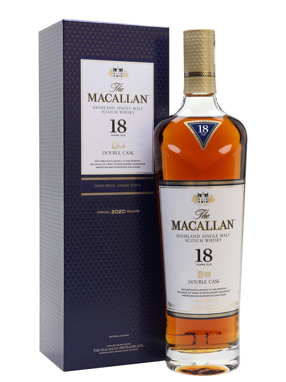 Distillery: The Macallan Name: 18 Years Double Cask - 2020 Volume: 70CL ABV: 43% Notes: Single Malt Origin: Craigellachie, Speyside, Scotland