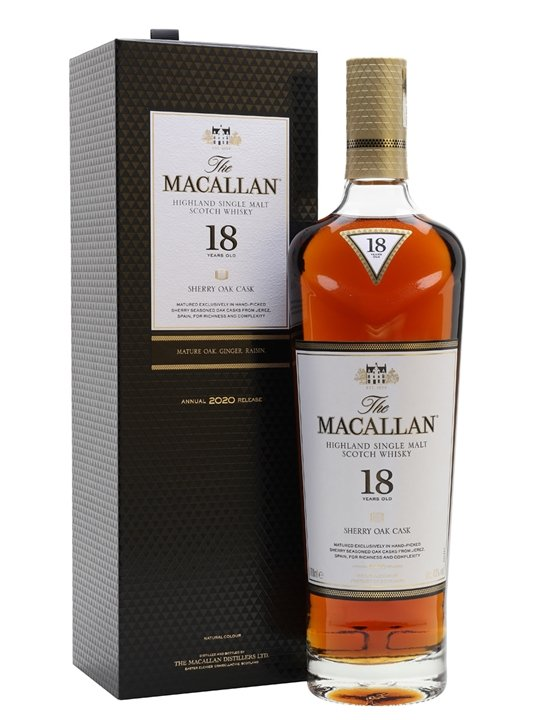 Distillery: The Macallan Name: 18 Years Sherry Oak - 2020 Volume: 70CL ABV: 43% Notes: Single Malt Origin: Craigellachie, Speyside, Scotland