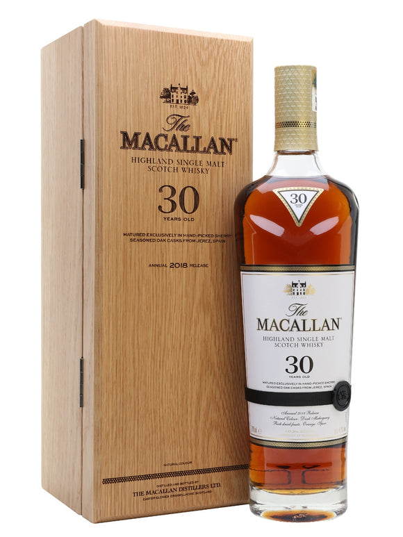 Distillery: The Macallan Name: 30 Sherry Cask 2018 Volume: 70CL ABV: 43% Notes: For Sale In Singapore Only Origin: Craigellachie, Speyside, Scotland