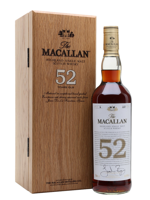 Distillery: The Macallan Name: 52 Years : 2018 Volume: 70CL ABV: 48% Notes: Special Editions : Scotland Origin: Craigellachie, Speyside, Scotland